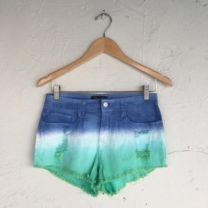 NWOT Blue, White & Green Ombre High-Waisted Shorts